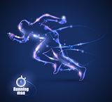 Motion design. Running Man isolated on black background. Blur and light.  Vector illustration