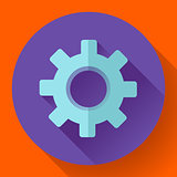 Cogwheel Icon. Develop symbol. Flat design style