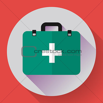 First aid case flat icon with shadow. Vector illustration. Flat design style