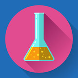 Conical Flask Icon with chemical solution. Flat design style.