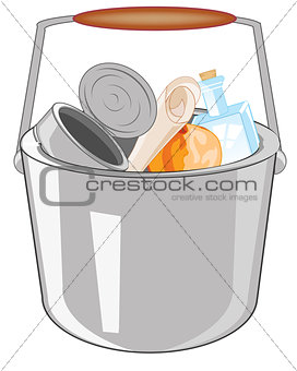 Pail with rubbish