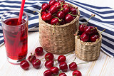 Cherry baskets and juice on wooden background