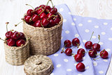 Cherry baskets on wooden background
