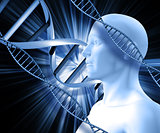 3D male figure on an abstract DNA background