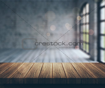 3D wooden table looking into empty aparment room
