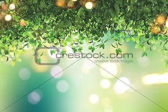 3D green leaves on a defocussed background