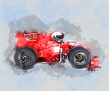Watercolor racing car