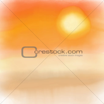 Watercolor sunset background