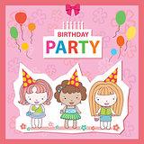 Illustration of a Birthday Celebrant three girls
