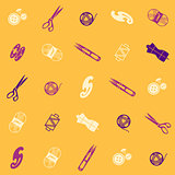 seamless pattern with multicolor sewing supplies