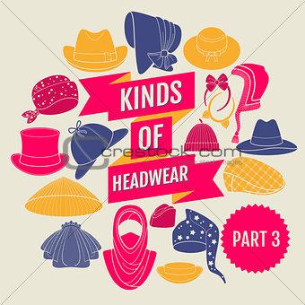 Kinds of headwear. Part 3