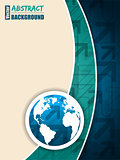 Turquoise blue brochure with arrows and world map