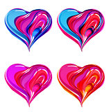 Colorful abstract hearts