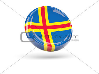 Flag of aland islands. Round icon
