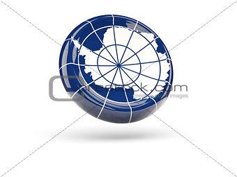 Flag of antarctica. Round icon