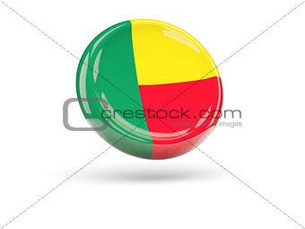 Flag of benin. Round icon