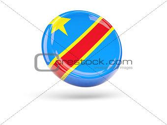 Flag of democratic republic of the congo. Round icon