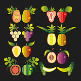 Illustration set of fruit