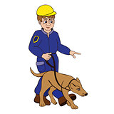 dog trainer on a white background