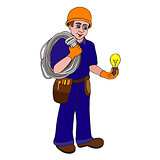 electrician on a white background