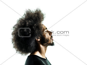 african man portrait silhouette isolated profile