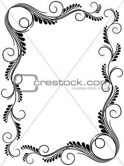 Abstract floral black and white frame