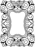 Floral black and white ornamental frame