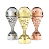 Football trophies on white