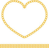 jewelry golden chain of heart shape vector