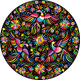 vector Mexican embroidery round pattern
