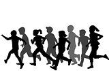 Children silhouettes running