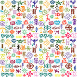Tribal ethnic symbols colorful background