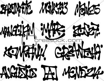 liquid black graffiti tags collection over white