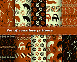 Cute Set of vector tribal striped seamless pattern. Geometric background. Folk ornamental textile. Ice age