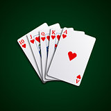 Pocker cards flush hearts hand