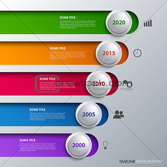 Time line info graphic with design stripes and bubbles