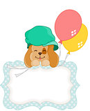 Cute dog with balloons blank gift tag