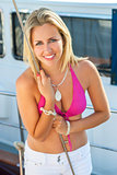 Beautiful Blond Girl Young Woman on Boat in Bikini