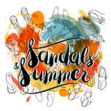 Sandals and Summer on abstract background