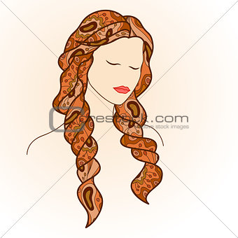 Beautiful woman with closed eyes and long hair