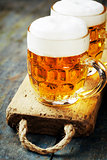 beer on wood background with copyspace