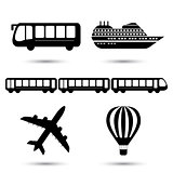 Vector illustration of black transport icons