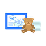 Pack Of Diapers And Bear
