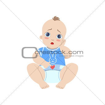 Baby In Blue With Dirty Nappy