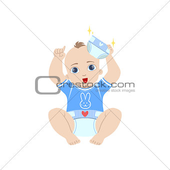 Baby In Blue Holding Fresh Nappy
