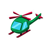 Green Helicopter Toy Aircraft Icon
