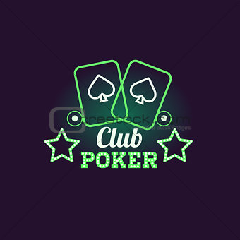 Green Poker Club Neon Sign