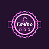 Double Frame Casino Purple NEon Sign