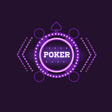 Round Frame Poker Purple Neon Sign