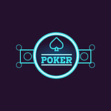 Round Blue Poker Neon Sign